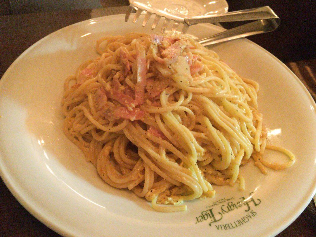 横浜限定ハンバーグ屋ではございません。虎ノ門のハングリータイガーはスパゲティなのです。