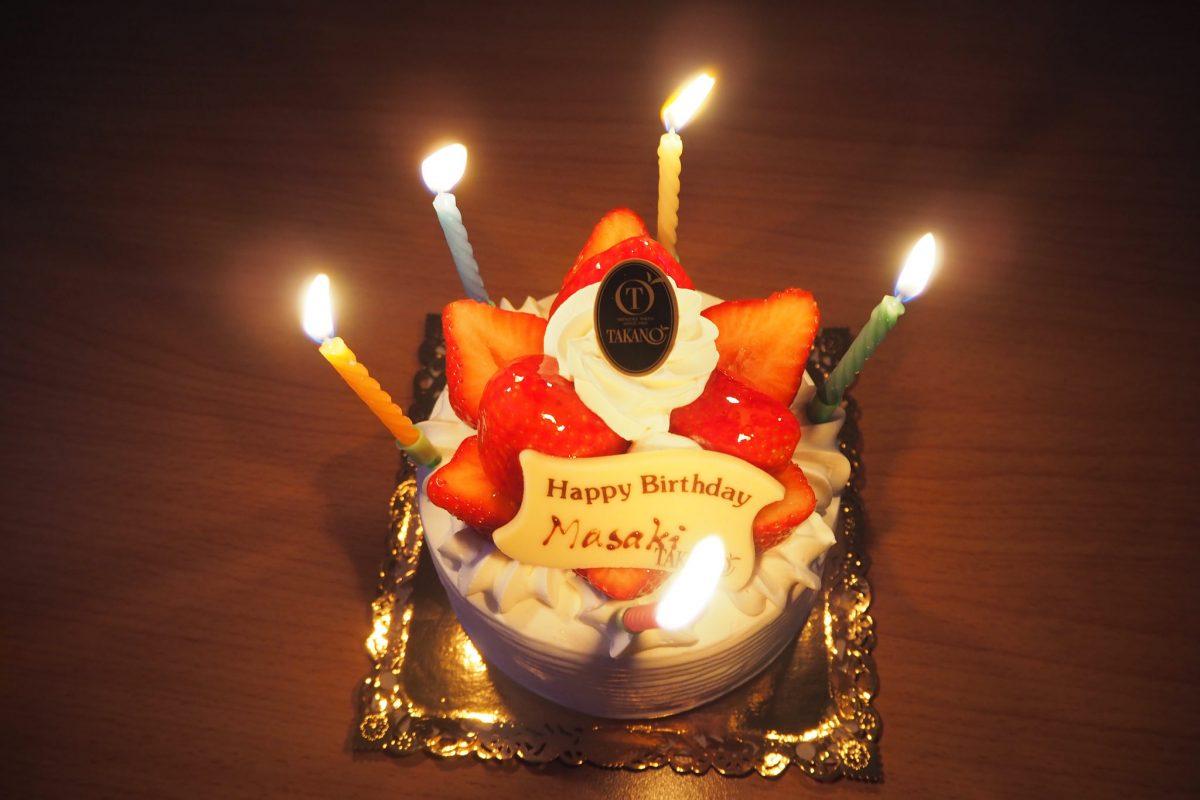 今年の御生誕記念は平日なんでお祝いはイレギュラーに!高野であまおうだのDOUBLEでリブアイステーキだの。